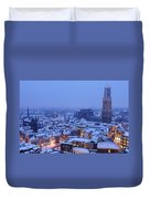 Cityscape Of Utrecht With The Dom Tower  In The Snow 13 Duvet Cover