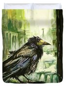 Cityscape With A Crow Duvet Cover