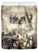 Civil War Naval Battle Duvet Cover