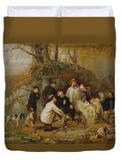 Claiming The Shot - After The Hunt In The Adirondacks Duvet Cover by John George Brown