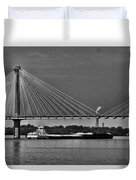 Clark Bridge And Barges In Black And White  Duvet Cover