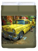 Classic 56 Chevy Car Yellow  Duvet Cover