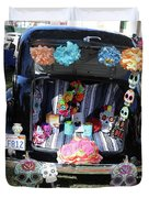 Classic Car Day Of Dead Decor Trunk Duvet Cover