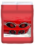 Classic Car Tail Lights Reflection Duvet Cover