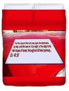 Classic Car With Text Duvet Cover