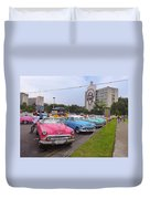Classic Cars In Revolutionary Square Cuba Duvet Cover