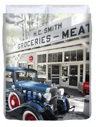 Classic Chevrolet Automobile Parked Outside The Store Duvet Cover