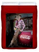 Classic Coca-cola Cowboy Duvet Cover by James Sage