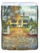 Classic Colonial Home In Autumn Pencil Duvet Cover