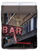 Classic Neon Sign For A Bar Livingston Montana Duvet Cover