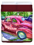 Classic Red Vintage Car Duvet Cover