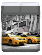 Classic Street View Of Yellow Cabs In New York City Duvet Cover