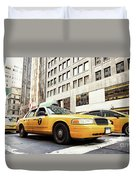 Classic Street View With Yellow Cabs In New York City Duvet Cover