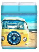 Classic Vw Camper On The Beach Duvet Cover