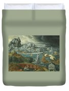 Classical Landscape With Ships Running Before A Storm Towards A Classical Harbour Probably Corinth Duvet Cover