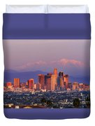 Classical View Of Los Angeles Downtown Duvet Cover