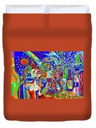 City At Night Music And Wine Abstract Duvet Cover