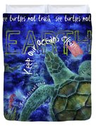 Clean Oceans Sea Turtle Art Duvet Cover