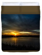 Clear Lake Sunset Duvet Cover