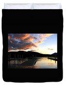 Clear Lake Sunset Duvet Cover