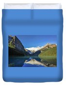 Clear Reflections In The Water At Lake Louise, Canada. Duvet Cover