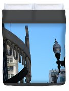 Clear Street Lamp Downtown Chicago Duvet Cover