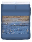 Cleared For Takeoff-ring-necked Ducks  Duvet Cover