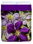 Purple Clematis Flower Vines Duvet Cover