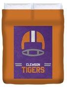 Clemson Tigers Vintage Football Art Duvet Cover