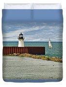 Cleveland Harbor Small Lighthouse Duvet Cover