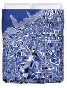 Cleveland Map Blue Duvet Cover