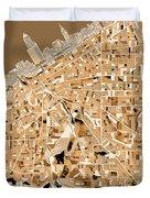 Cleveland Map Sepia Duvet Cover