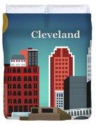 Cleveland Ohio Horizontal Skyline Duvet Cover