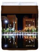 Cleveland Public Square Fountains Duvet Cover