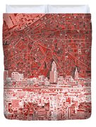 Cleveland Skyline Abstract 10 Duvet Cover