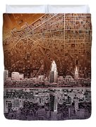 Cleveland Skyline Abstract 2 Duvet Cover