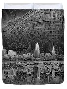 Cleveland Skyline Abstract 3 Duvet Cover