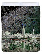 Cleveland Skyline Abstract 4 Duvet Cover