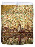 Cleveland Skyline Abstract 6 Duvet Cover