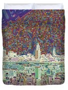 Cleveland Skyline Abstract 8 Duvet Cover