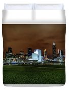 Cleveland Skyline At Night Duvet Cover
