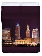 Cleveland Skyline Night Color - Downtown Buildings Duvet Cover