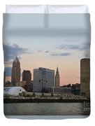 Cleveland Skyline And Port On The Cuyahoga River Duvet Cover