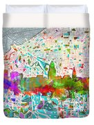 Cleveland Skyline Watercolor 2 Duvet Cover