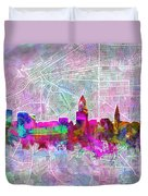 Cleveland Skyline Watercolor Duvet Cover