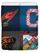 Cleveland Sports Fan Recycled Vintage Ohio License Plate Art Cavaliers Indians Browns And State Map Duvet Cover