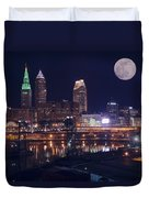 Cleveland With Full Moon Duvet Cover