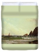 Cliffs At Cape Elizabeth Duvet Cover by Alfred Thompson Bricher
