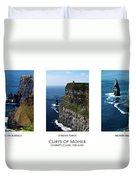 Cliffs Of Moher Ireland Triptych Duvet Cover