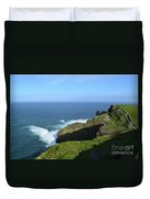 Cliff's Of Moher With White Water At The Base In Ireland Duvet Cover